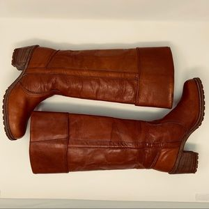 Vintage 80's Frye Chestnut Leather Boots Size 9.5